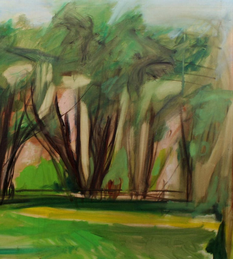 Important Female Modernist Oil Painting Central Park Abstract expressionist 1950 - Brown Landscape Painting by Harriet Holden Nash