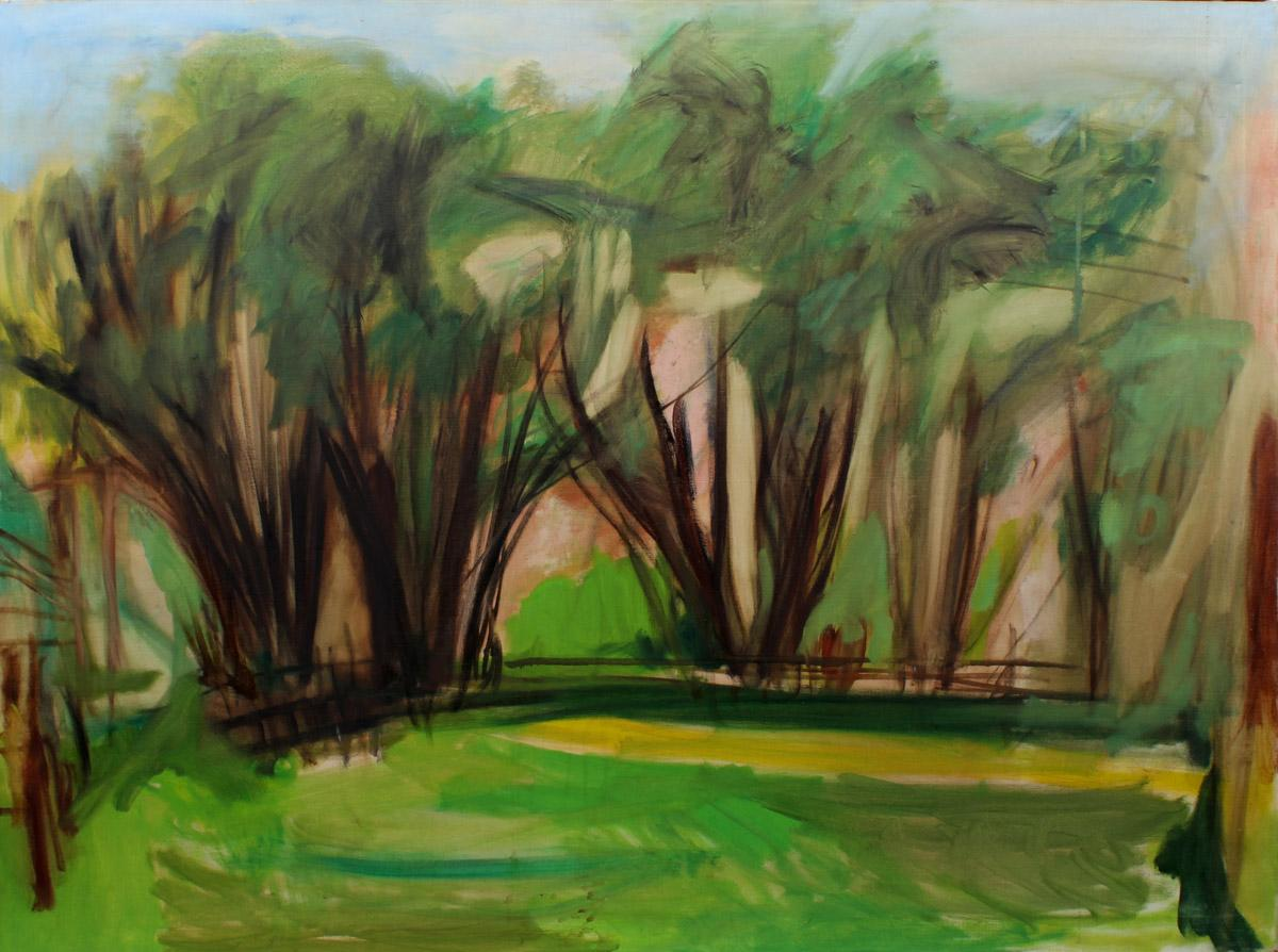 Important Female Modernist Oil Painting Central Park Abstract expressionist 1950