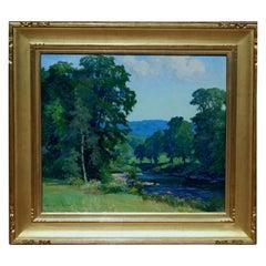 "Harriet Lumis Connecticut Impressionist Woman Painter, ""River at Cummington"""