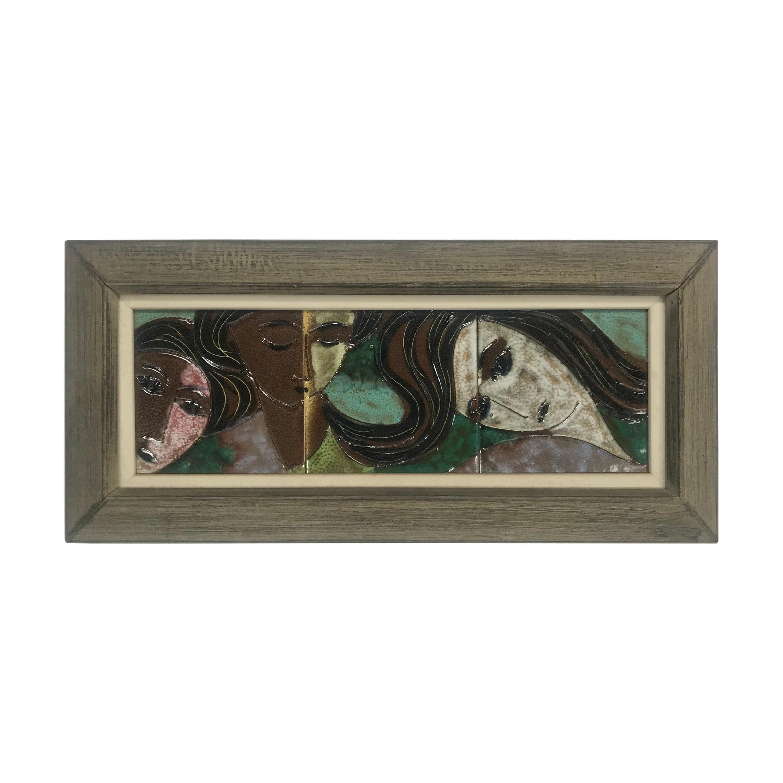 "Harris Strong Framed Ceramic Art Tiles ""Three Faces"""