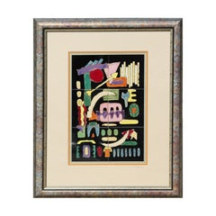 Colorful Geometric Abstract Modern Glazed Ceramic 6 Tile Painting