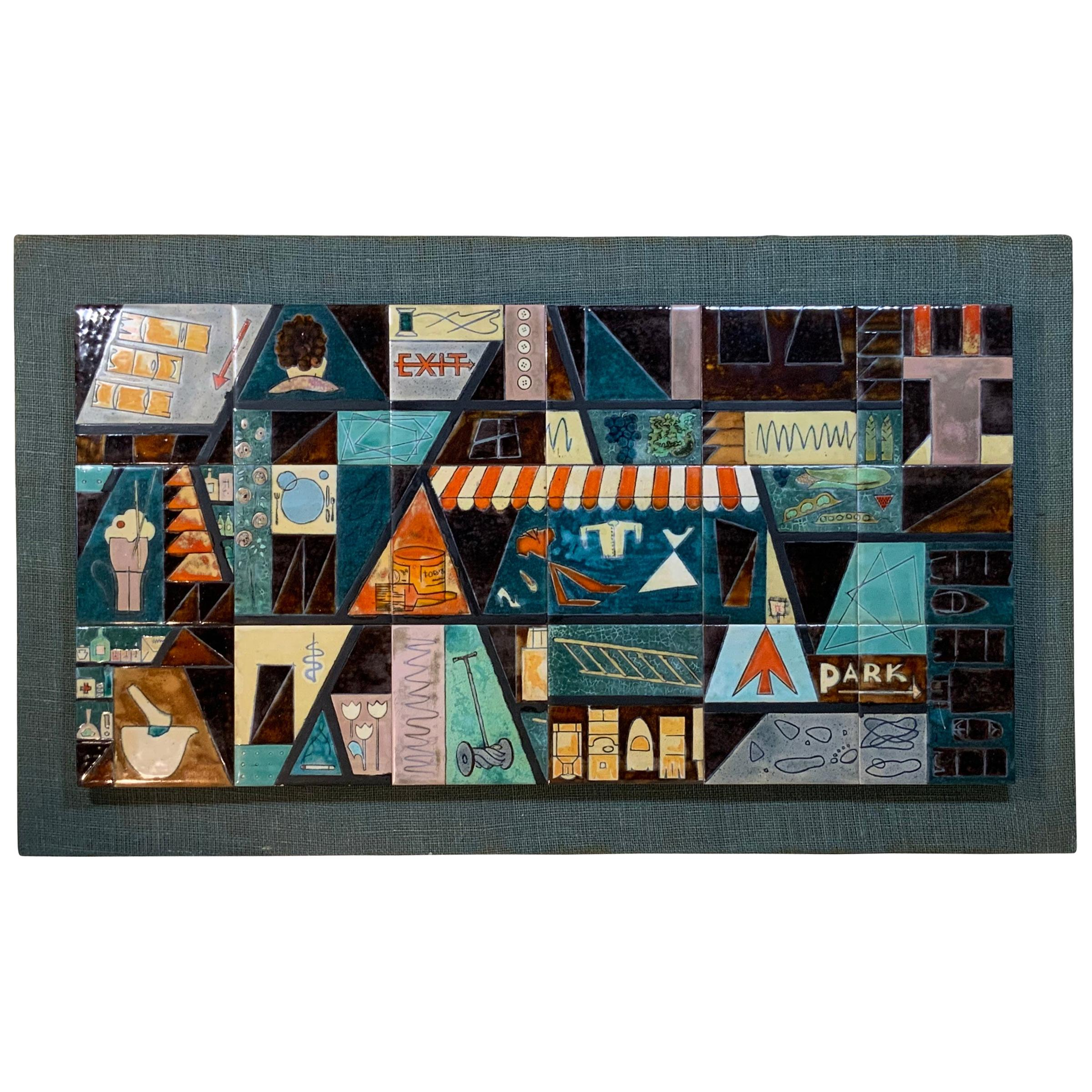 Harris Strong Rare Vintage Midcentury Wall Hanging Tile Set