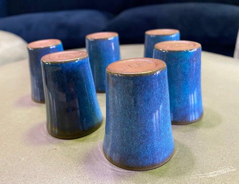 Harrison Mcintosh Signed Mid-Century Modern Set of 6 Pottery Sake Liqueur Cups For Sale 5