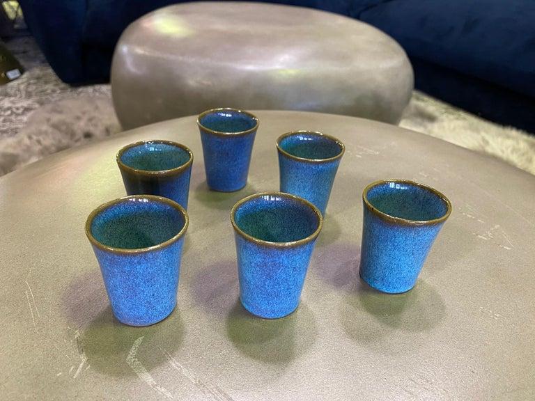 Harrison Mcintosh Signed Mid-Century Modern Set of 6 Pottery Sake Liqueur Cups For Sale 6