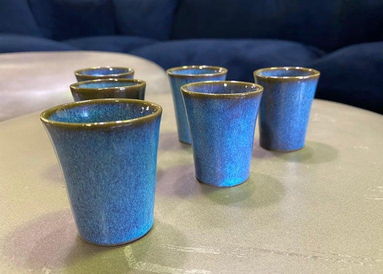 American Harrison Mcintosh Signed Mid-Century Modern Set of 6 Pottery Sake Liqueur Cups For Sale