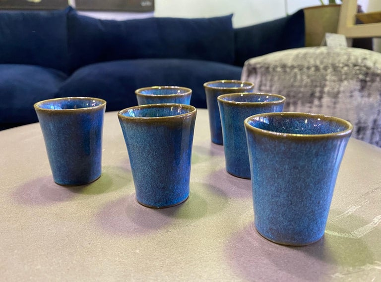Glazed Harrison Mcintosh Signed Mid-Century Modern Set of 6 Pottery Sake Liqueur Cups For Sale