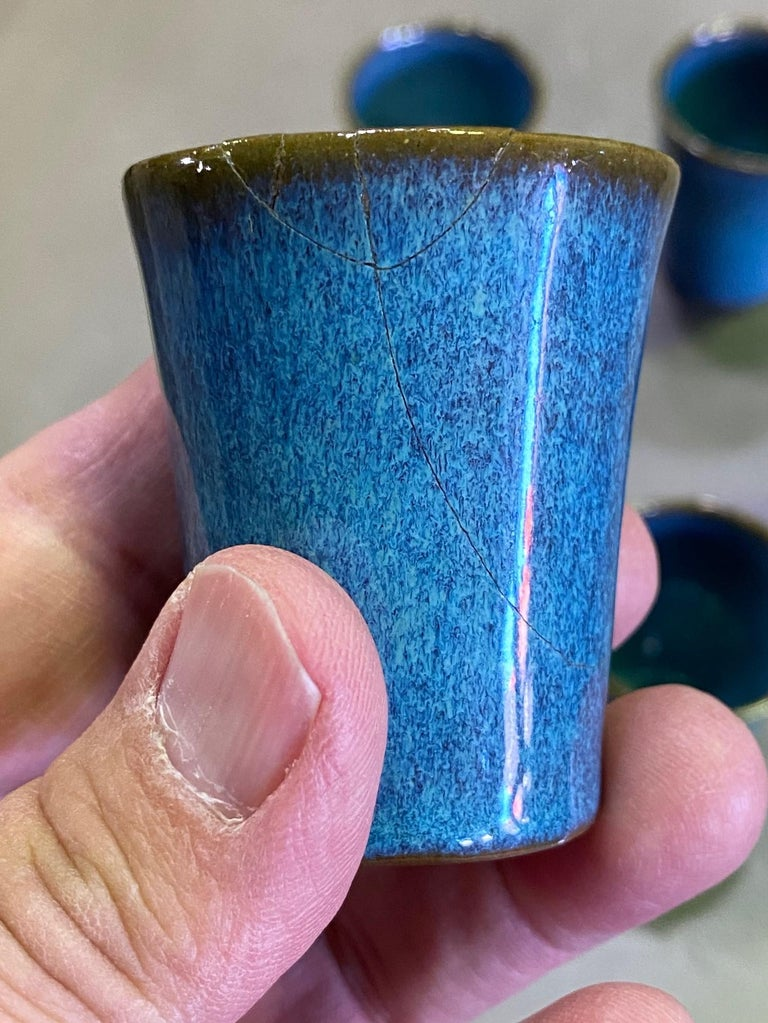 Mid-20th Century Harrison Mcintosh Signed Mid-Century Modern Set of 6 Pottery Sake Liqueur Cups For Sale