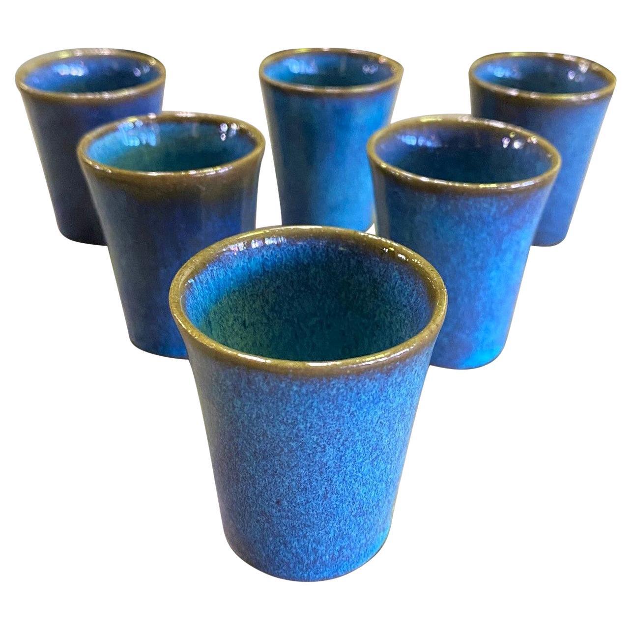 Harrison Mcintosh Signed Mid-Century Modern Set of 6 Pottery Sake Liqueur Cups