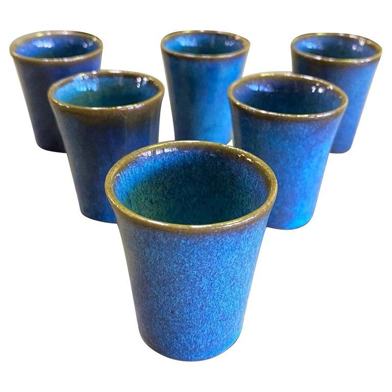 Harrison Mcintosh Signed Mid-Century Modern Set of 6 Pottery Sake Liqueur Cups For Sale