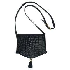 Harrods Black Alligator Embossed Leather French Handbag