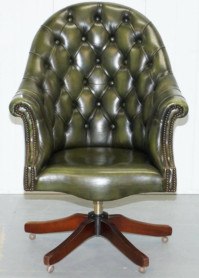 Harrods Chesterfield Directors Green Leather Executive