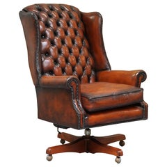Harrods Chesterfield Restored Cigar Brown Leather Directors Captains Chair