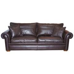 Harrods Divine Duresta Garrick 3 Seater Brown Leather Sofa Feather Filled