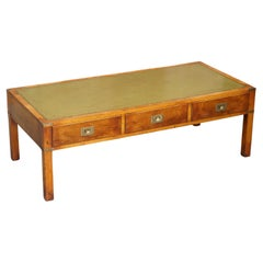Harrods Kennedy Military Campaign Burr Elm Coffee Table Green Leather Surface