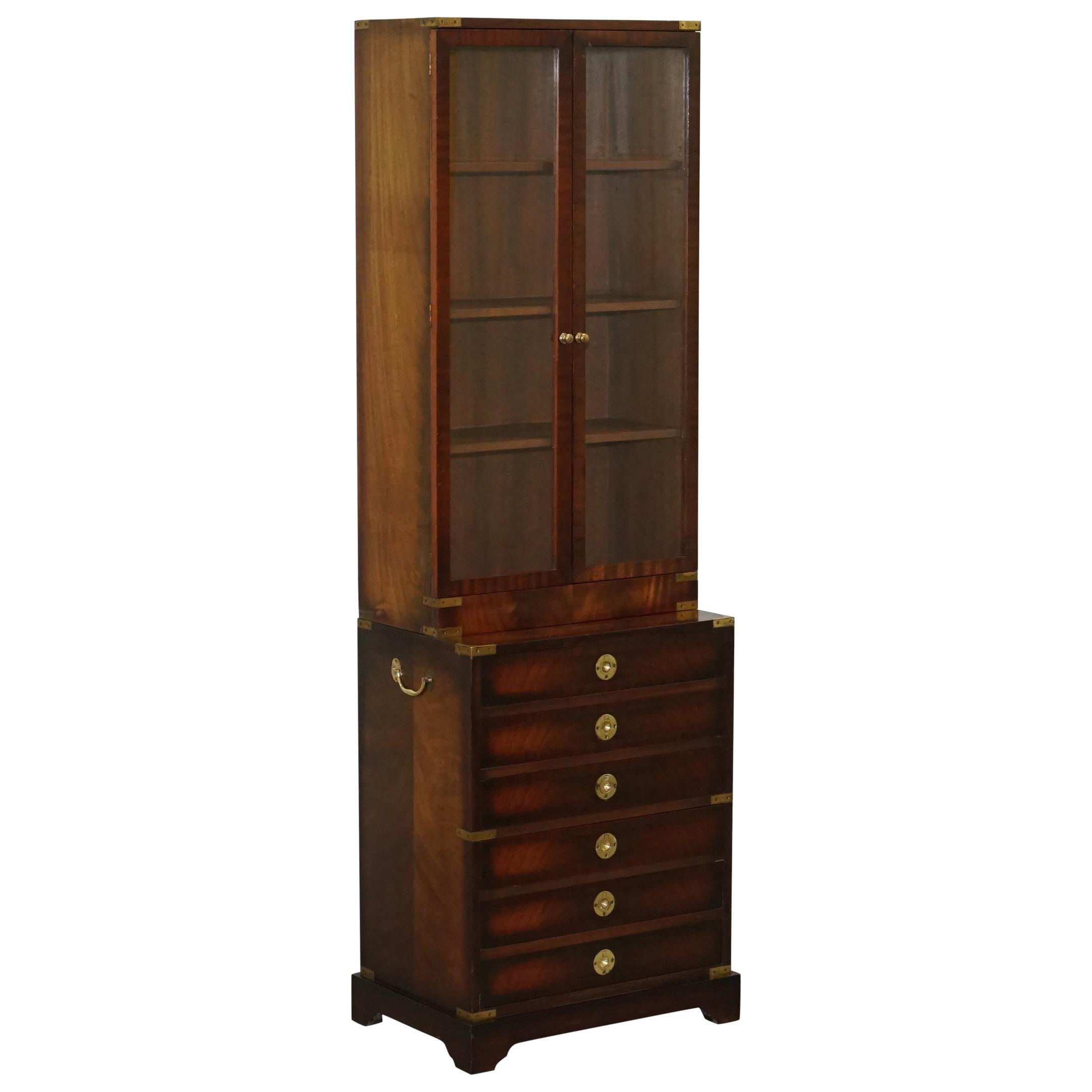 Harrods Kennedy Military Campaign Hardwood Brass Bookcase Chest of Drawers