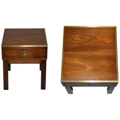 Harrods Kennedy Military Campaign Mahogany Brass Side Table Part of Large Suite
