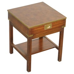 Harrods Kennedy Military Campaign Mahogany Brown Leather and Brass Side Table