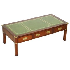 Harrods Kennedy Military Campaign Mahogany Coffee Table Green Leather Surface
