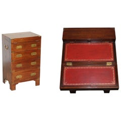 Harrods Kenney Military Campaign Chest of Drawers Oxblood Leather Writing Slope