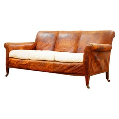 Harrods Leather Country House English Sofa, circa 1910