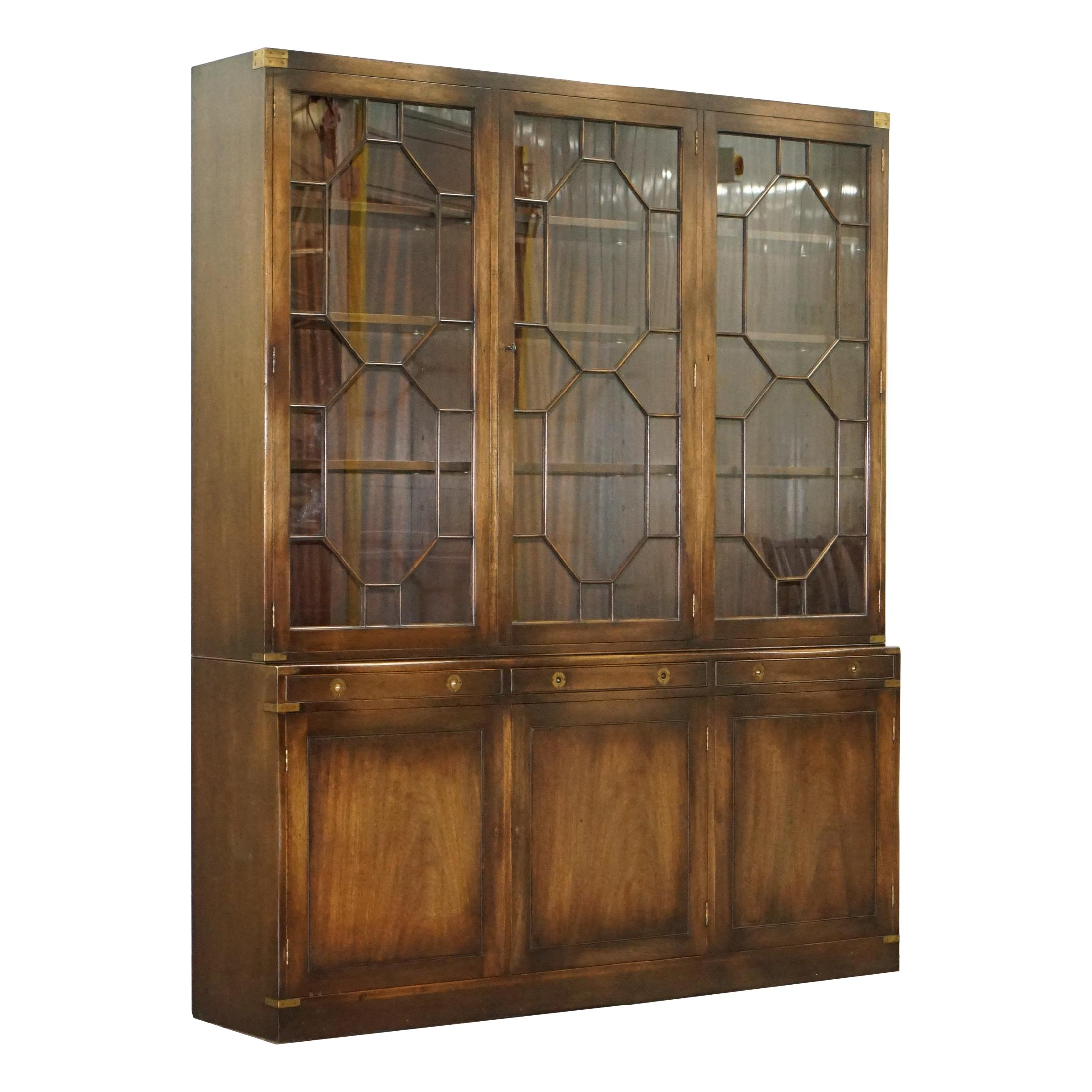 Harrods London Astral Glazed Military Campaign Library Bookcase Leather Desk