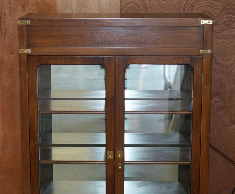 English Harrods London Kennedy Military Campaign Display Case with Light Mirrored Back For Sale