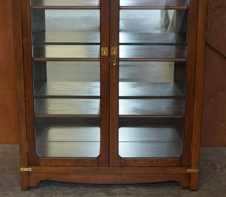 Hand-Crafted Harrods London Kennedy Military Campaign Display Case with Light Mirrored Back For Sale