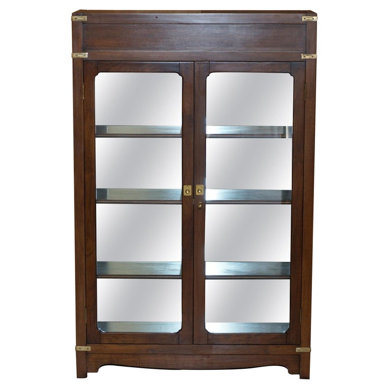 Harrods London Kennedy Military Campaign Display Case with Light Mirrored Back For Sale