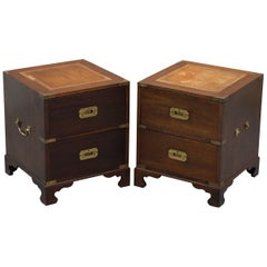 Harrods London Kennedy Military Campaign Side Table Drawers Pair Brown Leather