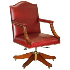 Harrods London Kennedy Oxblood Leather Captains Directors Chair