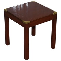 Harrods London Light Mahogany Military Campaign Lamp Side End Table