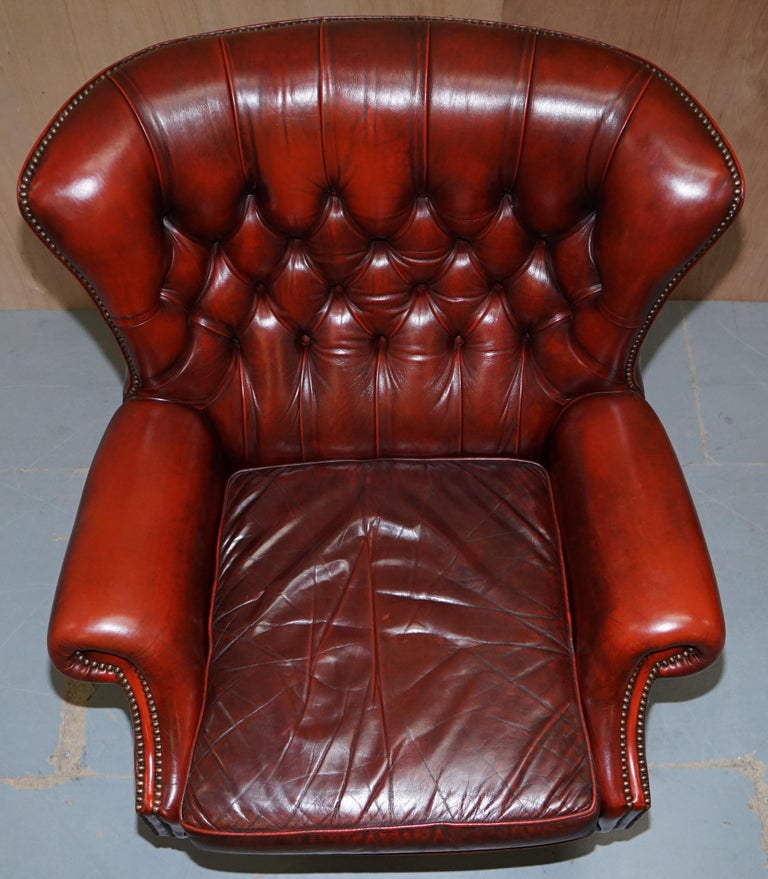 Sensational Harrods London Oversized Oxblood Leather Wingback Library Office Reading Chair Cjindustries Chair Design For Home Cjindustriesco