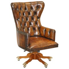 Harrods London Restored Hand Dyed Whisky Brown Leather Directors Captains Chair
