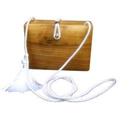 Harrods London Unique Wood Italian Shoulder Bag c 1980