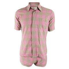 Harrods Mens Vintage 1960s Two Piece Pink Gingham Beach Swim Suit