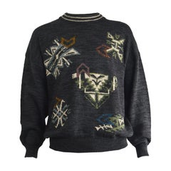 Harrods Mens Vintage Made in Italy Aztec Intarsia Knit Jumper Sweater, 1980s