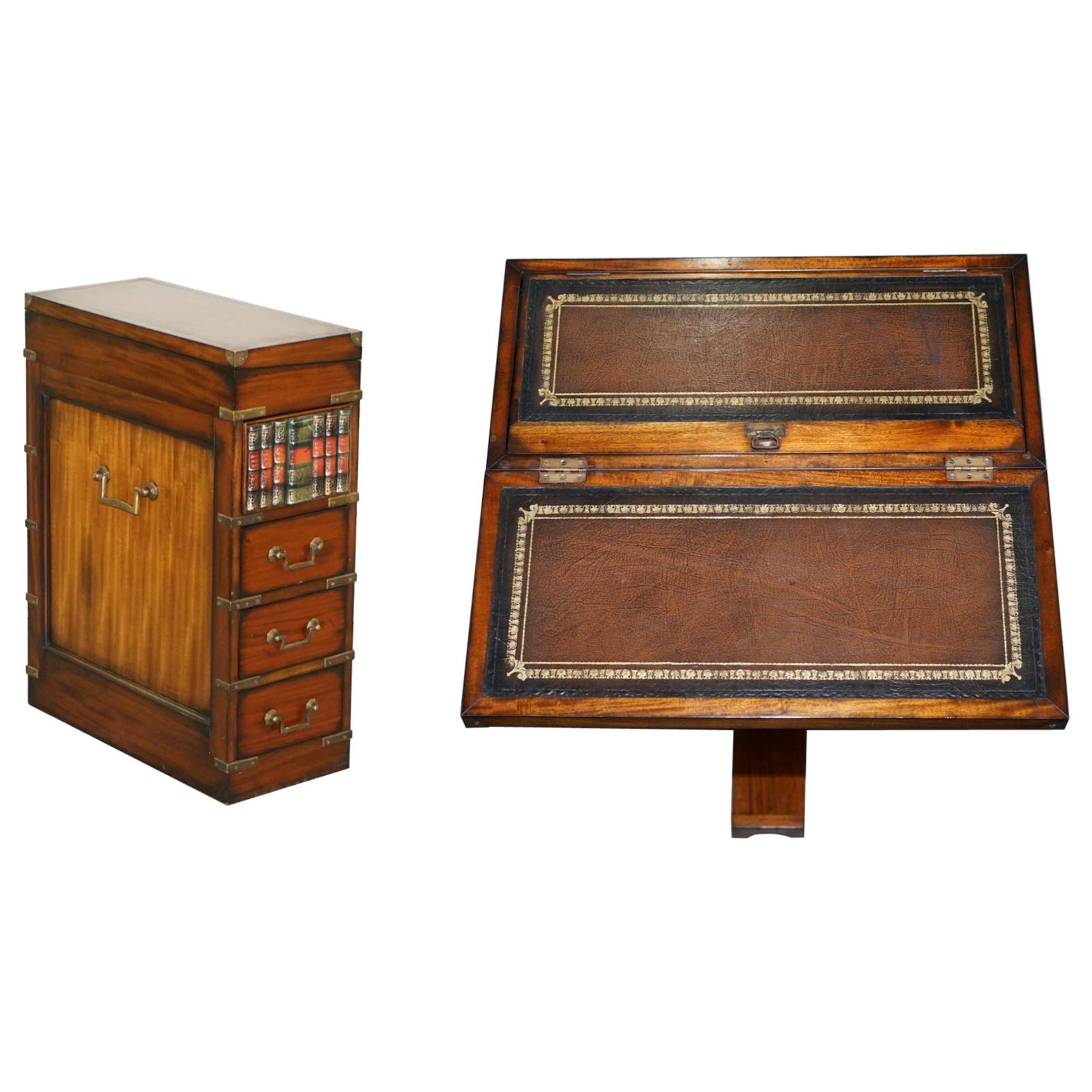 Harrods Military Campaign Faux Book Chest of Drawers Brown Leather Writing Slope