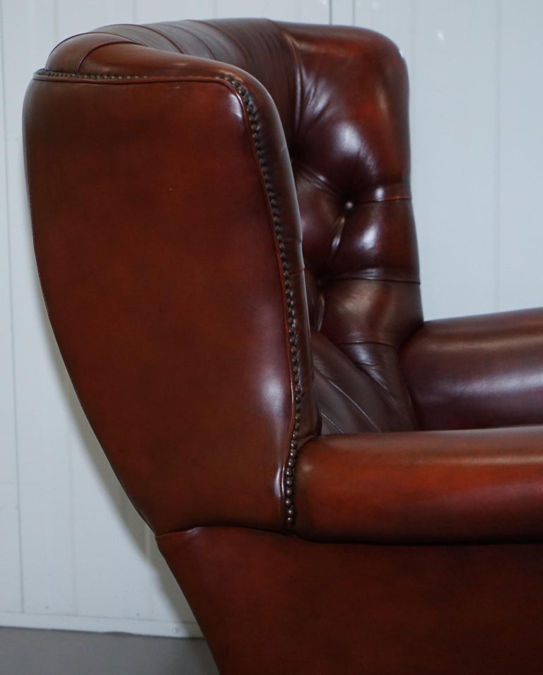 Harrods Oversized Oxblood Leather Wingback Library Lounge Armchair & Ottoman 3