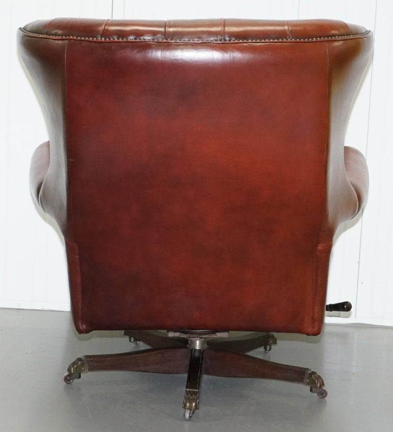 Harrods Oversized Oxblood Leather Wingback Library Lounge Armchair & Ottoman 4