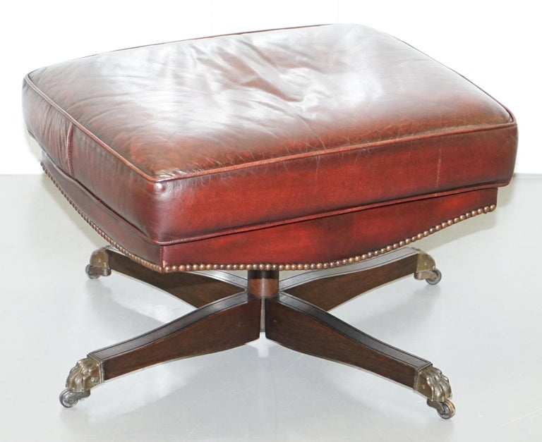 Harrods Oversized Oxblood Leather Wingback Library Lounge Armchair & Ottoman 9