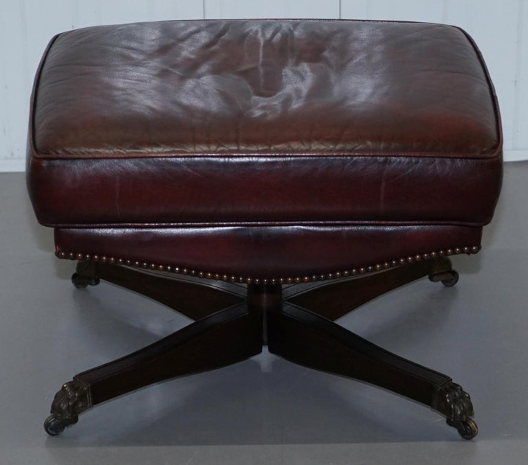 Harrods Oversized Oxblood Leather Wingback Library Lounge Armchair & Ottoman 10