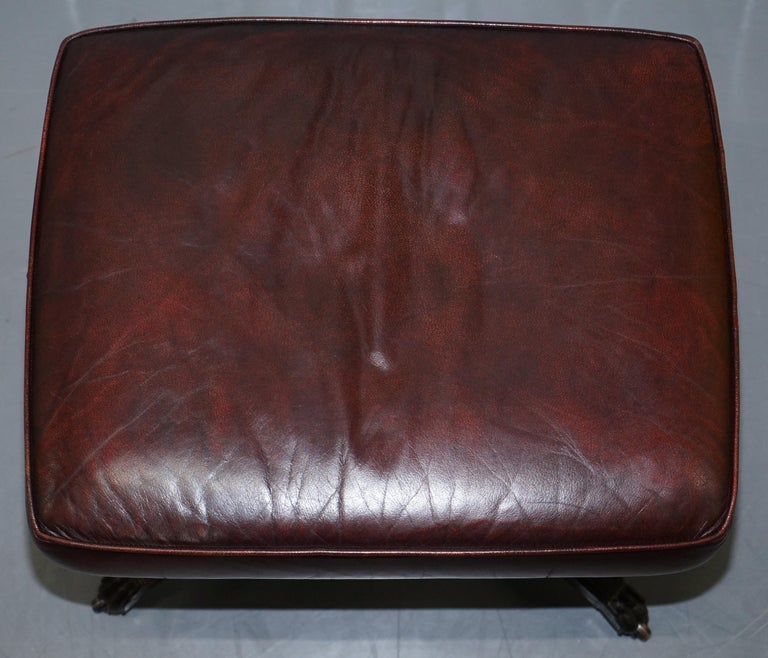 Harrods Oversized Oxblood Leather Wingback Library Lounge Armchair & Ottoman 11