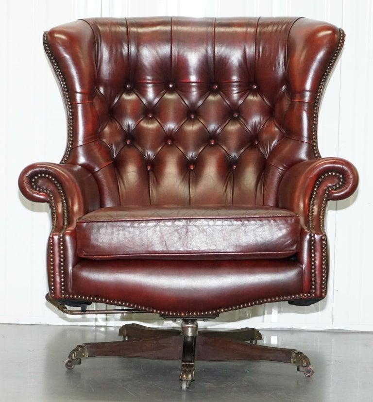 Mid-Century Modern Harrods Oversized Oxblood Leather Wingback Library Lounge Armchair & Ottoman