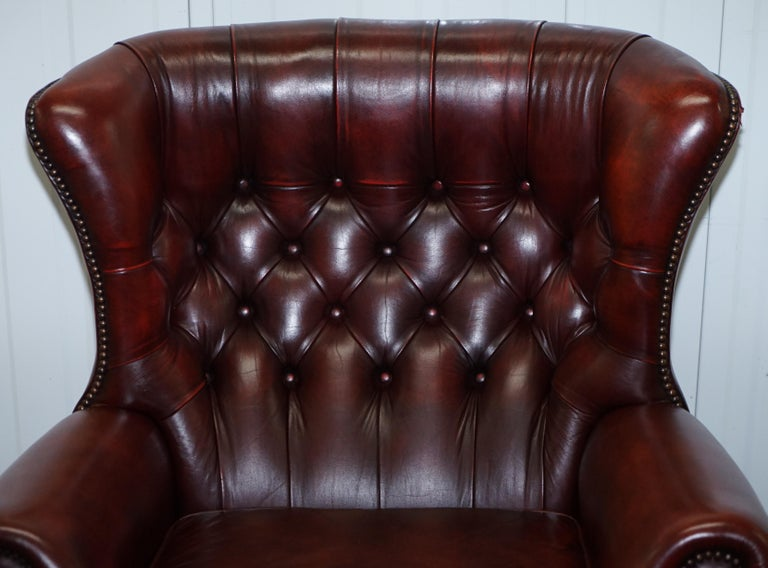 English Harrods Oversized Oxblood Leather Wingback Library Lounge Armchair & Ottoman