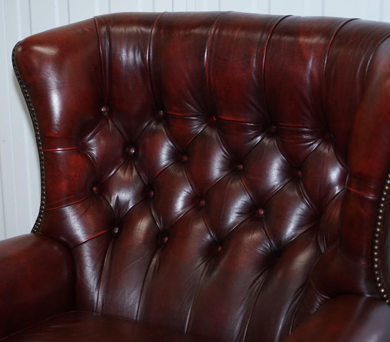 Hand-Crafted Harrods Oversized Oxblood Leather Wingback Library Lounge Armchair & Ottoman