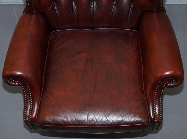 Harrods Oversized Oxblood Leather Wingback Library Lounge Armchair & Ottoman In Good Condition In London, GB