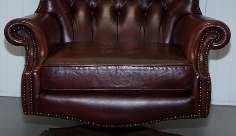 20th Century Harrods Oversized Oxblood Leather Wingback Library Lounge Armchair & Ottoman