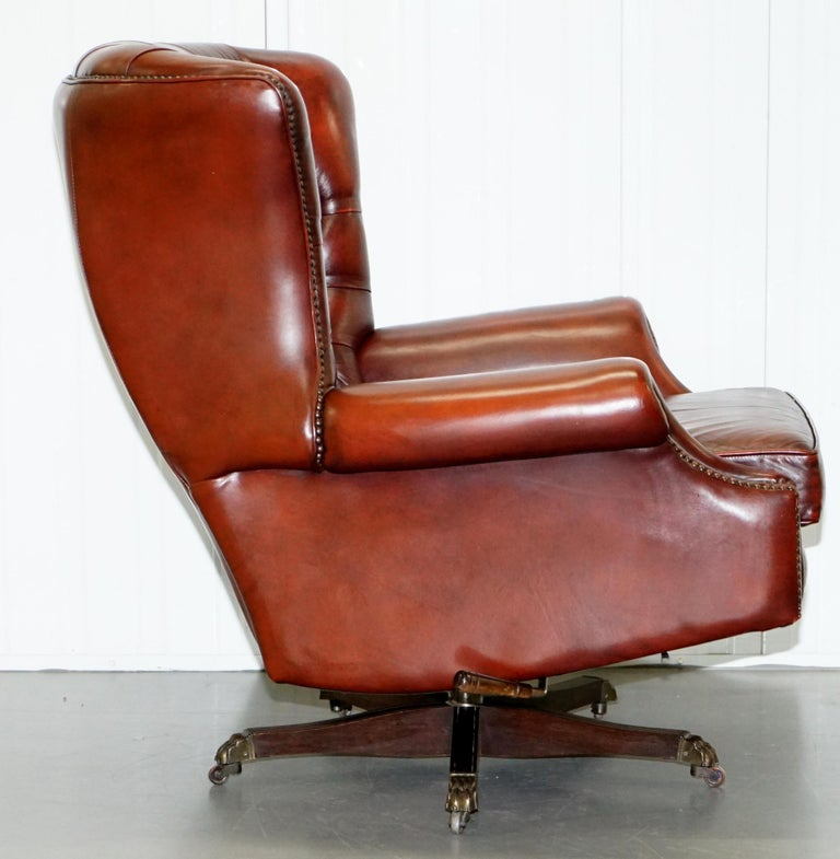 Harrods Oversized Oxblood Leather Wingback Library Lounge Armchair & Ottoman 2