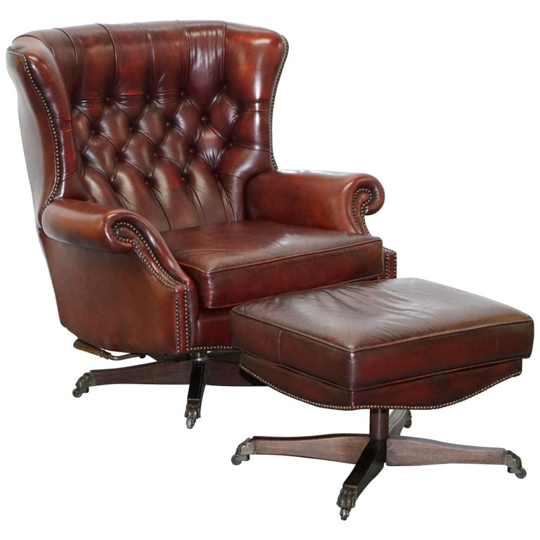 Amazing Harrods Oversized Oxblood Leather Wingback Library Lounge Armchair Ottoman Inzonedesignstudio Interior Chair Design Inzonedesignstudiocom