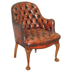 Harrods Restored Chesterfield Captains Brown Leather Armchair Claw & Ball Feet